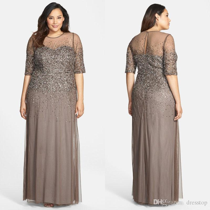 Fashion Sequined Plus Size Evening Dresses With Half Sleeves Sheer