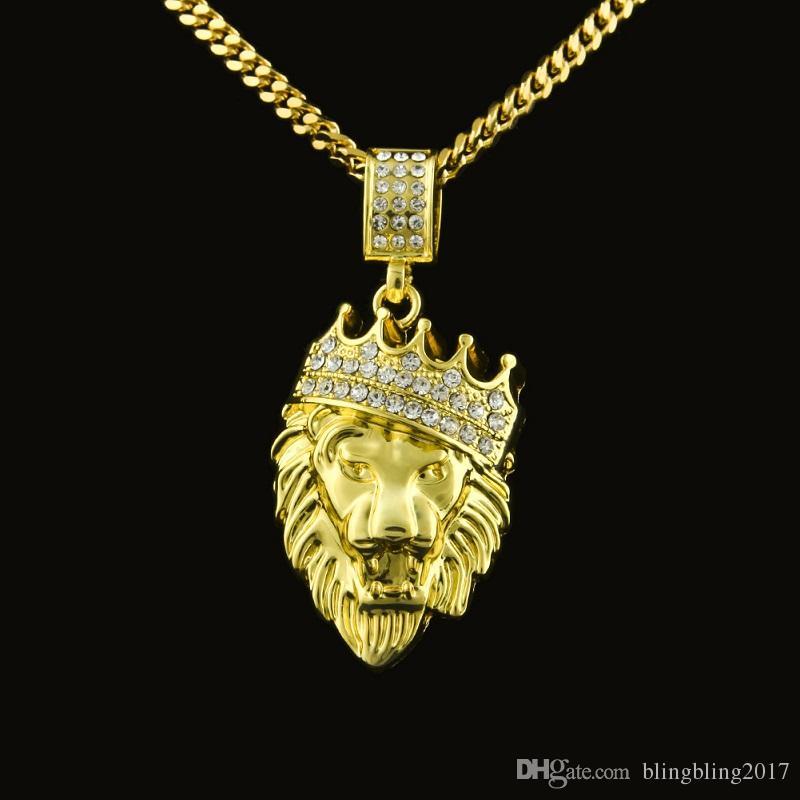 Wholesale Mens Lion Head Crown Pendant Necklace Gold Hip