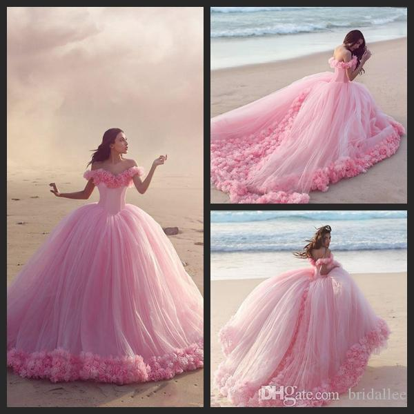 2016 Quinceanera Dresses Baby Pink Tulle Ball Gowns Off