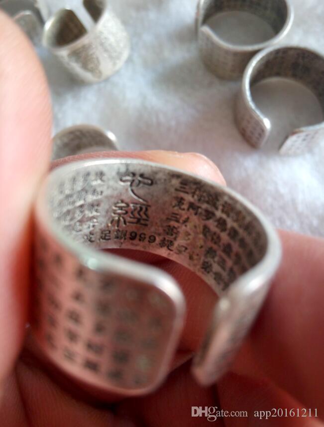Anillo de la paz de las inscripciones de plata tibetanas de Tíbet de China Envío libre