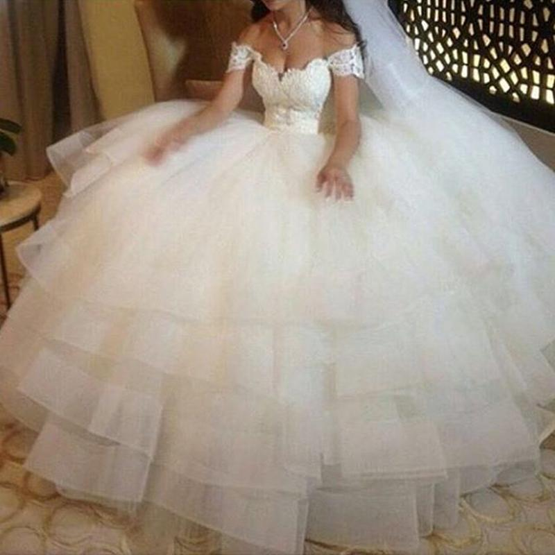 Gorgeous Off the Shoulder Sweetheart Ball Gown Bridal Dresses 2019 Lace Beading Layered Organza Princess Wedding Dress