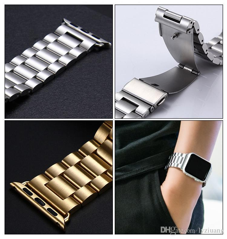 Luxury classic stainless steel band for Apple watch 38mm 42mm Gold For iwatch Strap Series 1 2 3 Bracelet belt