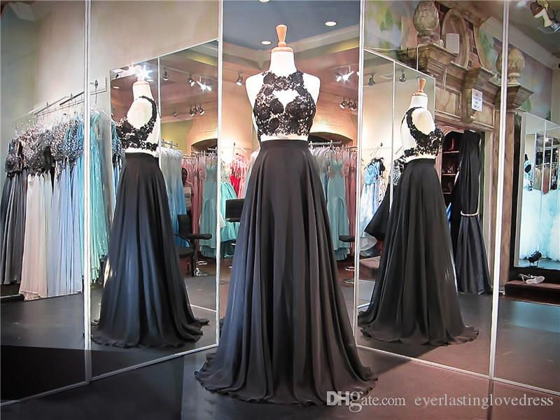 Black chiffon two piece black lace crop top open back prom dress