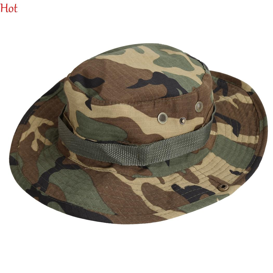 8da85d615e5 Mens Bucket Hats Outdoor Fishing Hiking Boonie Snap Brim Military Sun Hat  Cap Military Camouflage Woodland Camo Sun Hats New Sale SV003003 Headwear  Felt Hat ...