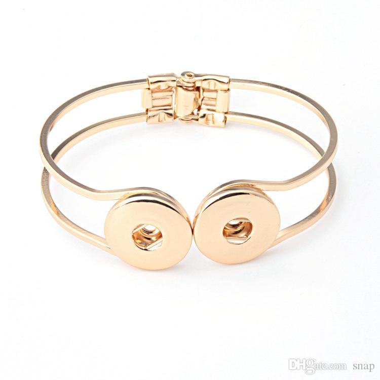 NO.1 Vente Chaude Snap Bracelets Argent Plaqué Haute Qualité DIY Snap Bijoux Double Snap Boutons