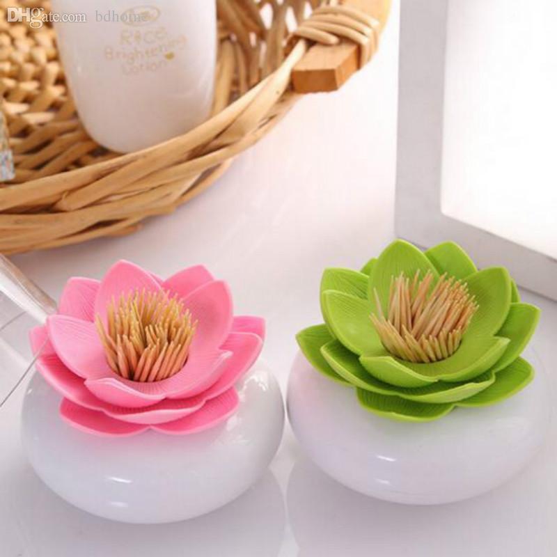 Acheter Gros Cure Dents Titulaire Lotus Fleur Vase Coton Ecouvillon
