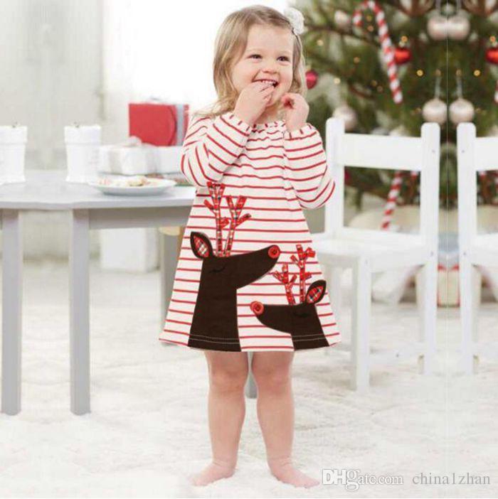 اعتصامات الفتيات فساتين عيد الميلاد عيد الميلاد الأميرة فساتين شريطية طويلة الأكمام الطفل تنورة عيد الميلاد حزب تأثيري حلي سانتا كلوز الأيائل الطباعة DH153
