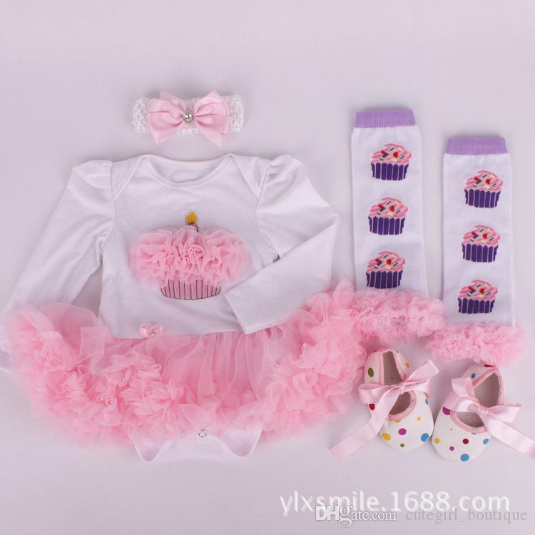 Infant girl christmas clothing sets baby girl christmas dresses baby autumn suits waist+stocking+shoes+bandband 4pcs baby new year outfits