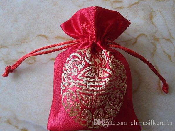 Chinese Joyous Drawstring Silk Fabric Pouch Christmas Birthday Party Favor Candy Bags Gift Packaging Bag Wholesale size 9x12 cm /