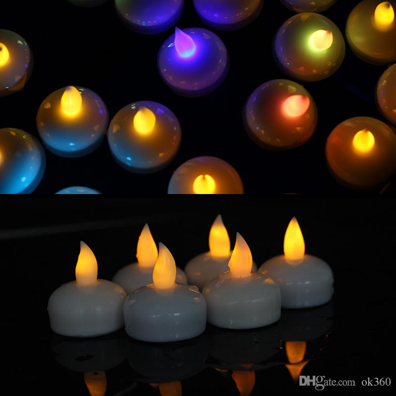 Tealight Tea Candles Impermeabile Natale galleggiante Flameless LED Light Lampadina la decorazione di festa di compleanno di nozze