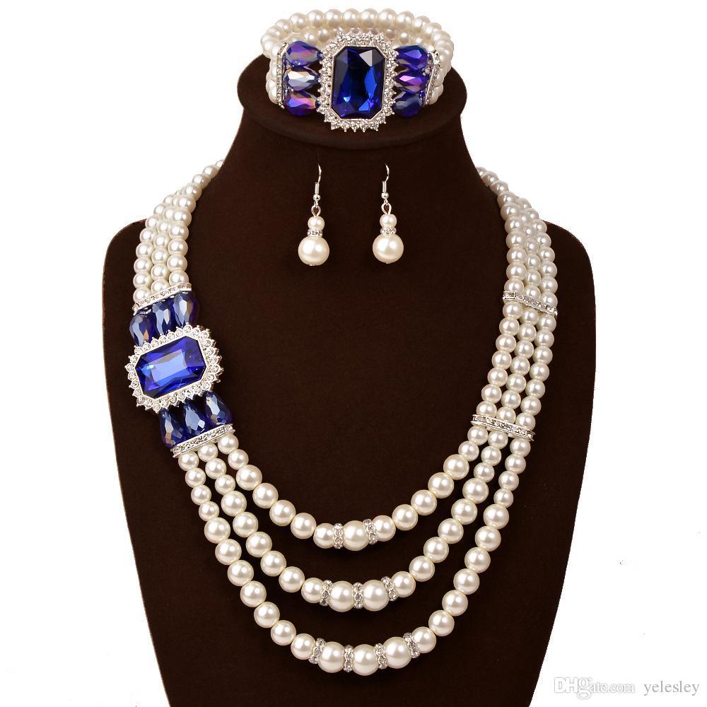 Благородный круглый имитация жемчуг с топ Кристалл 3 шт. ювелирные наборы 18 к позолоченные ожерелье серьги кольцо для женщин Дамы свадьба