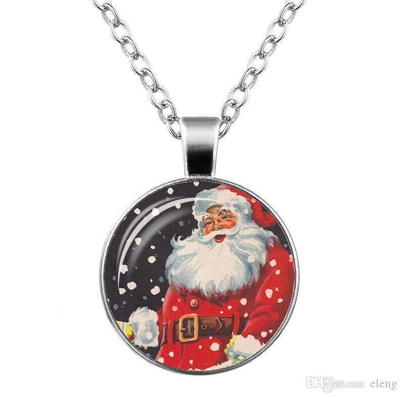 2018 Time gem necklace glass Santa Claus Sweater chain Necklace Girl Jewelry + 358