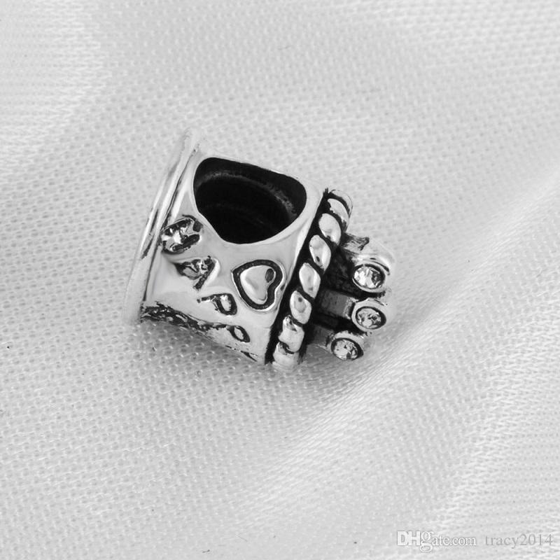 2016 New Pandora Bracelet Lettre Charme Gâteau d'anniversaire S925 Pure Silver Accessoires DIY Perles Joker Coeur Perles en vrac pour Bracelet de fil