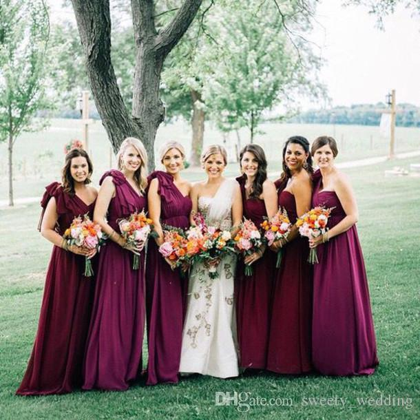 Burgundy Chiffon Plus Size Maid Of Honor Gowns One Shoulder Floor Length Big Bow Empire Waist 2017 Cheap Bridesmaid Dress Wedding Party Wear