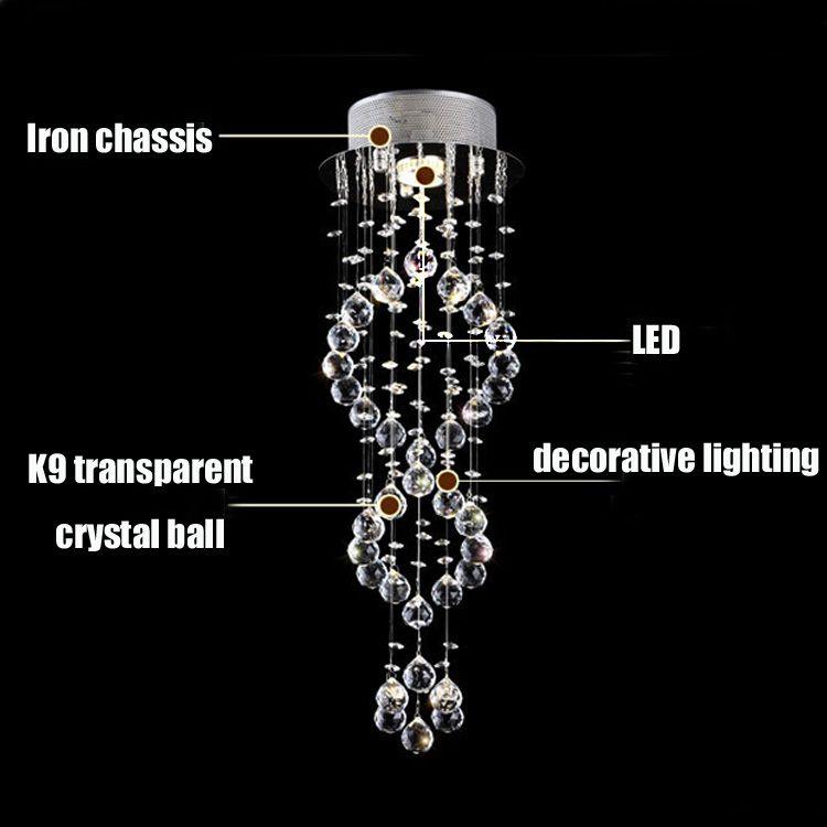 Moderno pingente de iluminação de iluminação de teto lustre de cristal bola gota espiral lustres de cristal luzes da escada para escadaria