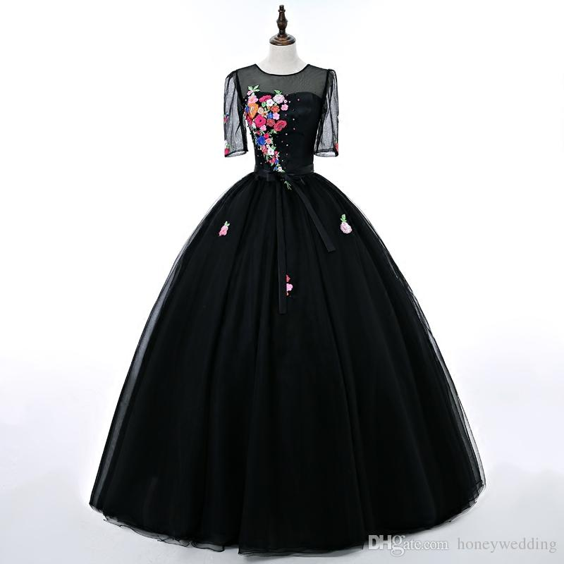 2017 New Prom Dresses Cheap Floral Embroidery Black Ball Gown