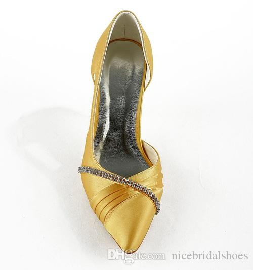 Yellow color 8cm wedding shoe inElegant Style Pointy Bridal Shoe Wedding Dress Shoes Handmade Shoes for Wedding From Size35-42