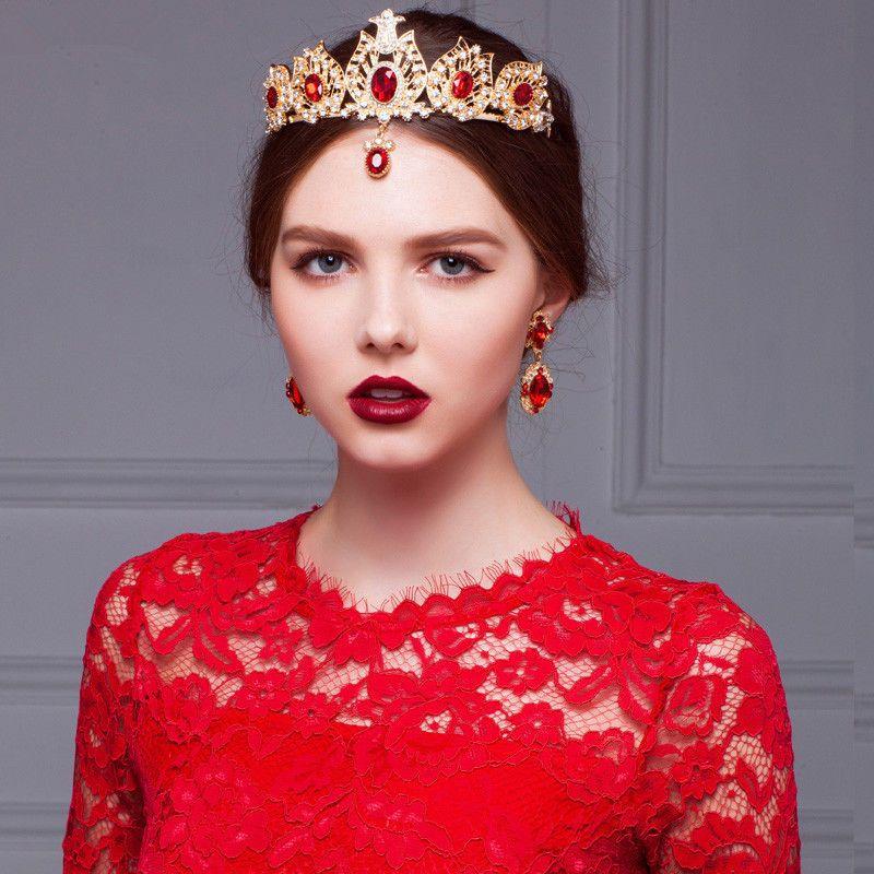 Vintage Wedding Bridal Crown Tiara Red Crystal Rhinestone Forehead ...