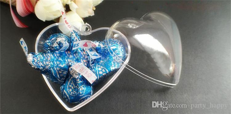 2016 Trasparente Scatola di caramelle Trasparente Pallina di plastica Ornamento Albero Decorazione feste di nozze Scatola trasparente a forma di cuore Decorazioni nuziali la doccia