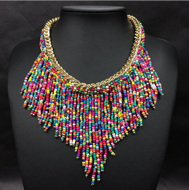 afa99818b0c9 2016 joyería de moda Mujer Nueva Bohemia Collares mujeres hechas a mano  Tejido a mano Collier