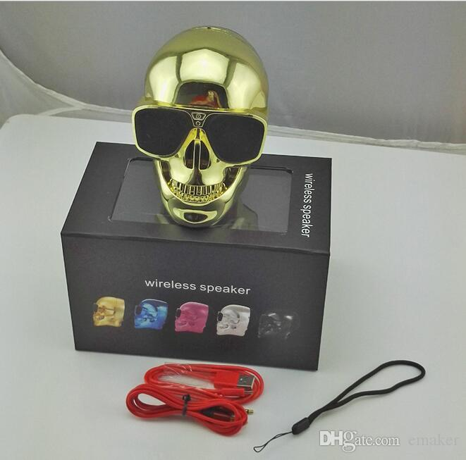 DHL Free- Skull Speakers Mini Wireless Bluetooth Subwoofer Ghost Head Louder Speaker For Iphone Samsung with Retail box Best Gift