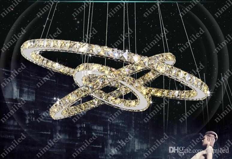 nimi678 1/2/3-Anéis Modern LED SMD Rodada Anel de Cristal Lustres de Cristal Luzes Pingente de Teto Pendurado Luminárias Sala de estar lâmpada