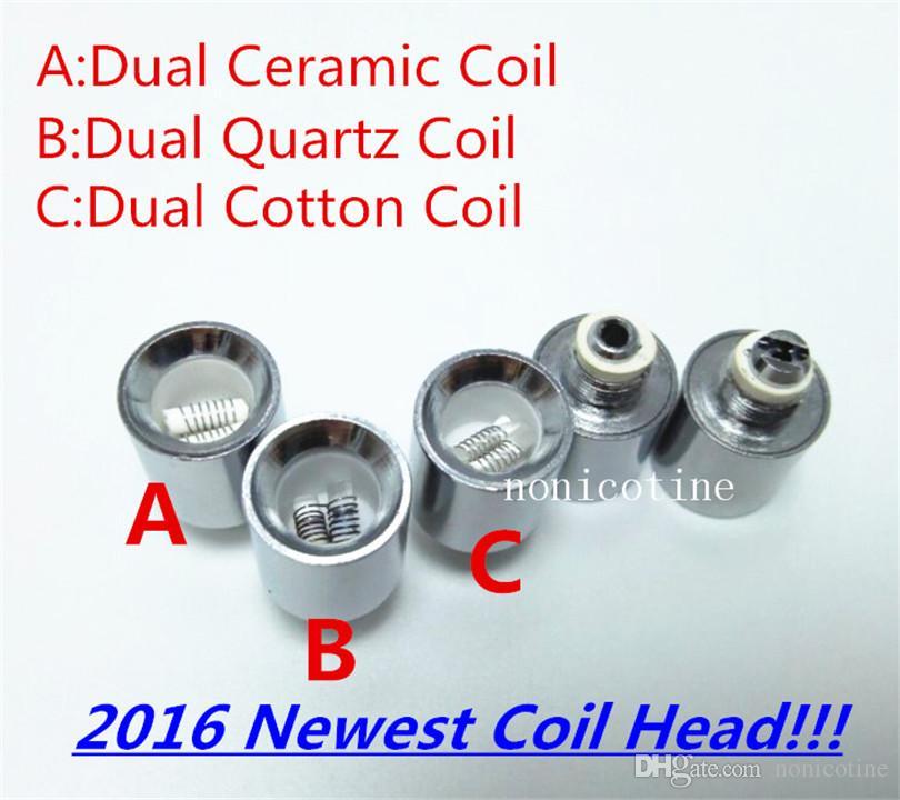 Hot Dual Ceramic Rod Coil Cotton Quartz Rod Coil replacement core Metal Coil for Vase Cannon Glass Globe Atomizer VS Ceramic Donut Skillet