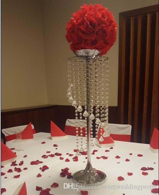 Luxus hohe hängende Acryl Kristall Perlen Hochzeit Blumenständer Mittelstücke zum Verkauf