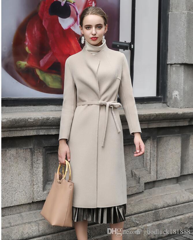 dd5277fc8350 Nuevo otoño invierno moda mujer de doble cara largo abrigos de cachemira  elegante de las mujeres de cuello redondo abrigos de lana niñas abrigo de  ...