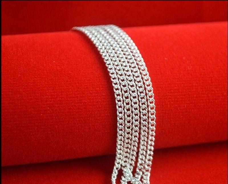 Bom Presente 925 Sterling Silver 1 MM Flat Curb Cadeia Colar Colar dos homens 16