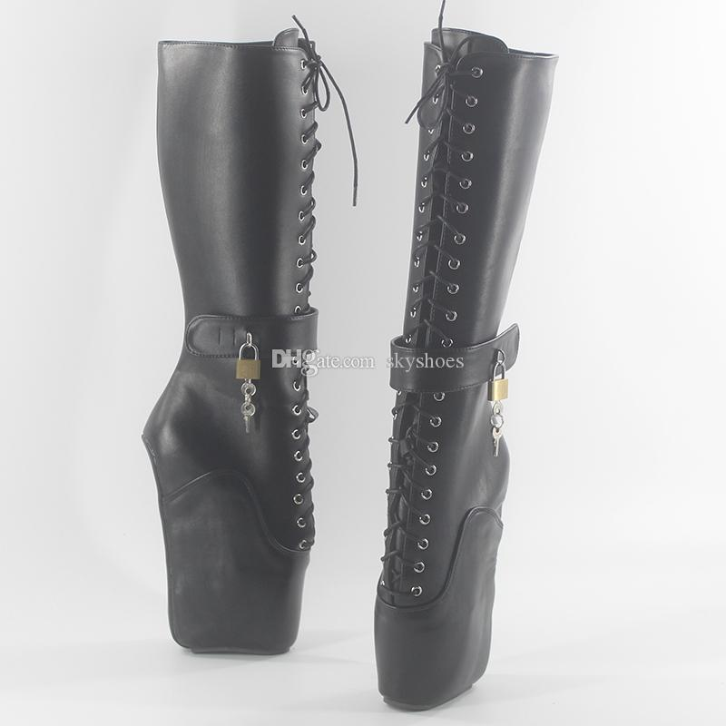 Wonderheel new ballet Knee High boots 18cm wedges heel matte leather fashion lace up sexy fetish lockable padlocks women boots