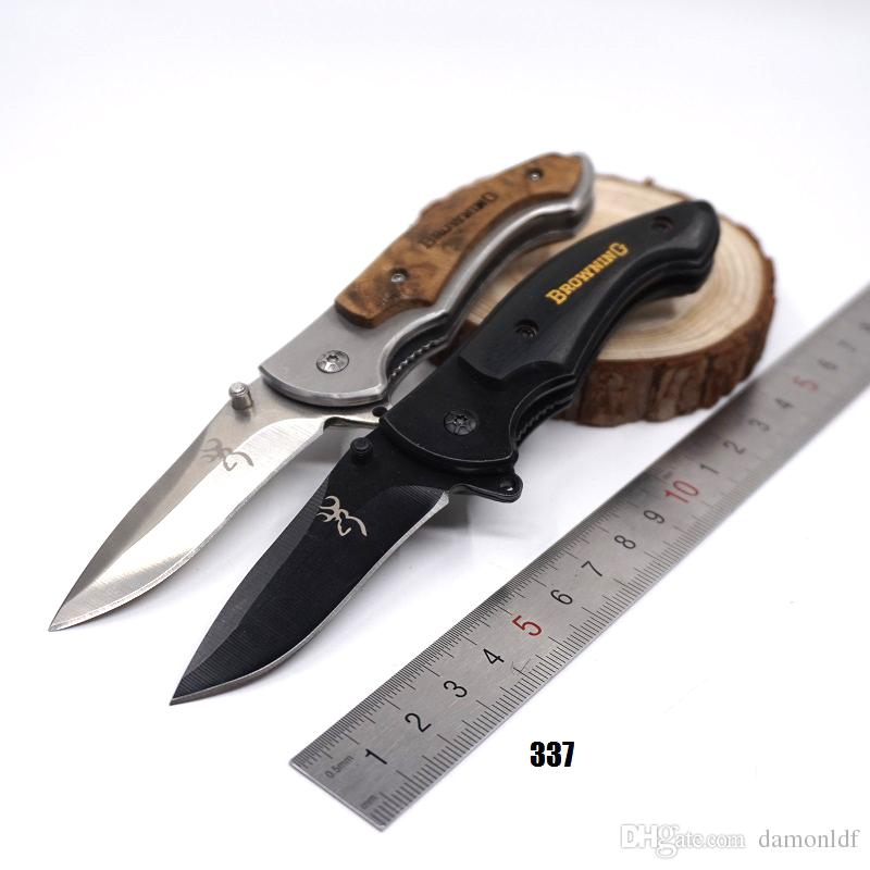 337/338/339 Small Brwoning Knives Folding Pocket Knife Combat Knife Outdoor Tactical Survival Knives Wooden Handle Quick-opening EDC Tools