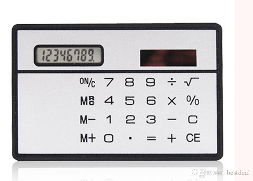 Solar Card Calculator Mini Calculator Solar-Powered Teller Mini Slanke creditcard Zonne-energie Pocket Ultradunne rekenmachine