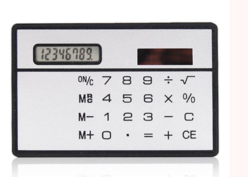 Solkortkalkylator Mini Calculator Solar-Powered Counter Mini Slim Credit Card Solar Power Pocket Ultra-Thin Calculator