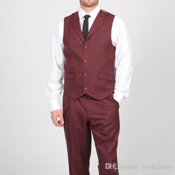 Mens Custom Made Suits with Waistcoat Two Button Burgundy Tuxedos Personalized Groom Suits sarawan handsome new design wholesale