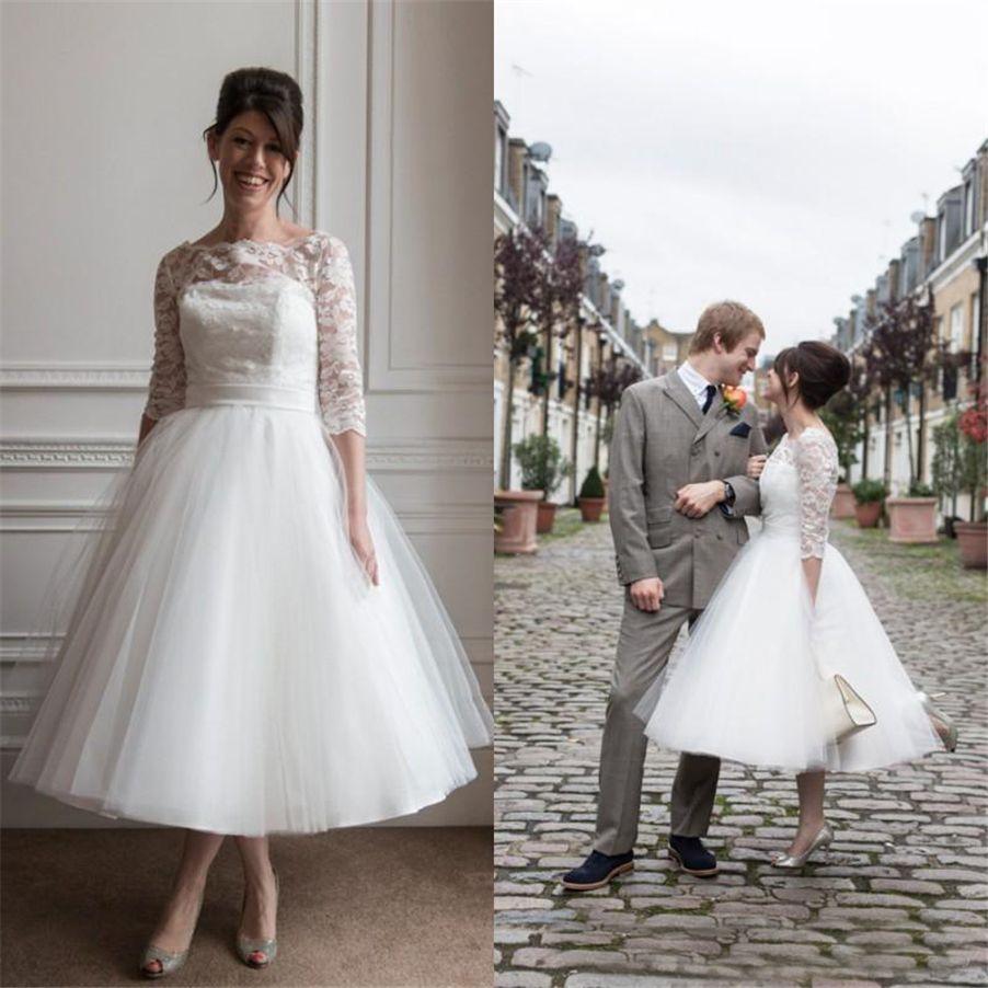 Discount Tea Length Wedding Dress