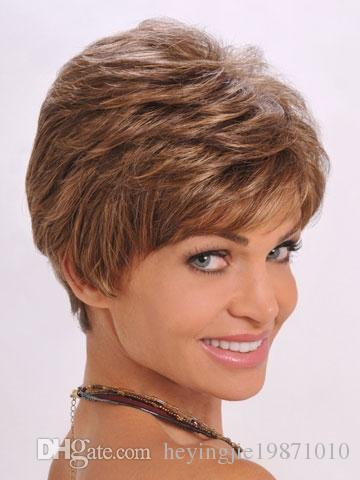 Xiu Zhi Mei 8inch Heat Resistant Synthetic Puffy Short Brown Wigs For Black Women Natural African American Wig With Bangs