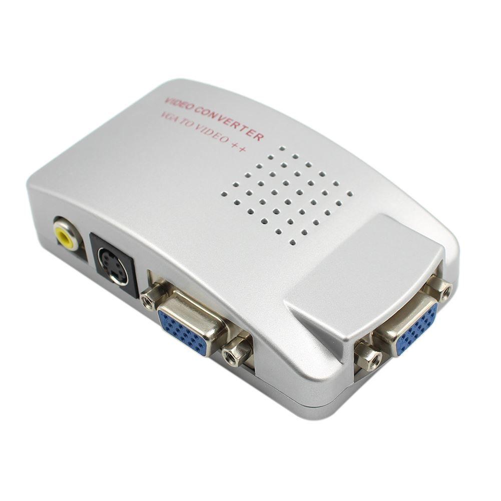 Бесплатная доставка ПК Ноутбук Композитный Видео ТВ RCA Композитный S-Video AV In К ПК VGA LCD Out Конвертер Адаптер Переключатель Box