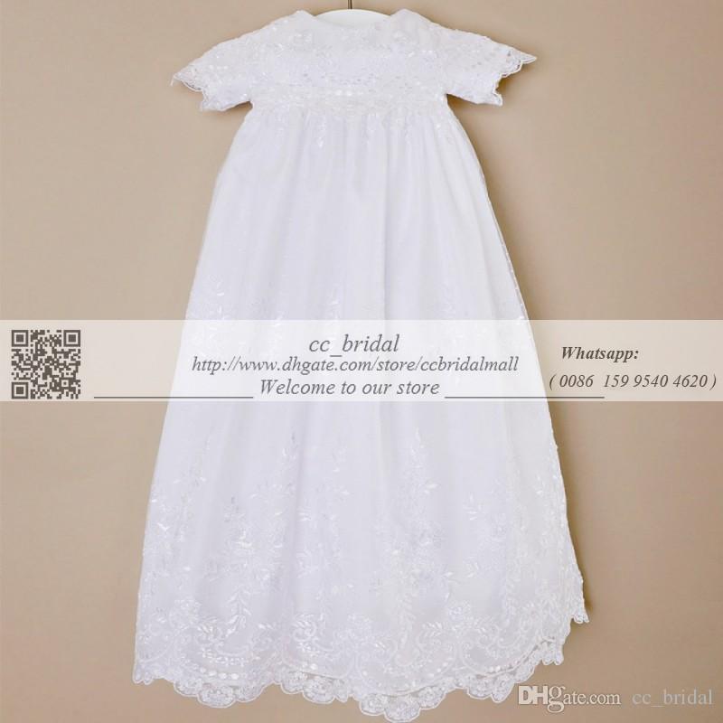 Custom made 2016 Nova Adorável Manga Curta Vestido de Batismo Marfim Branco Vestidos de Batizado Vestido para Bebés Meninas e Meninos Barato Criança batismo