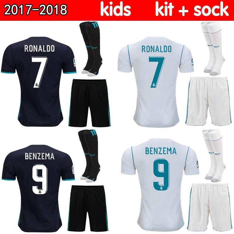 Großhandel Thai Qualität 2017 2018 Real Madrid Kinder Fußball Trikot