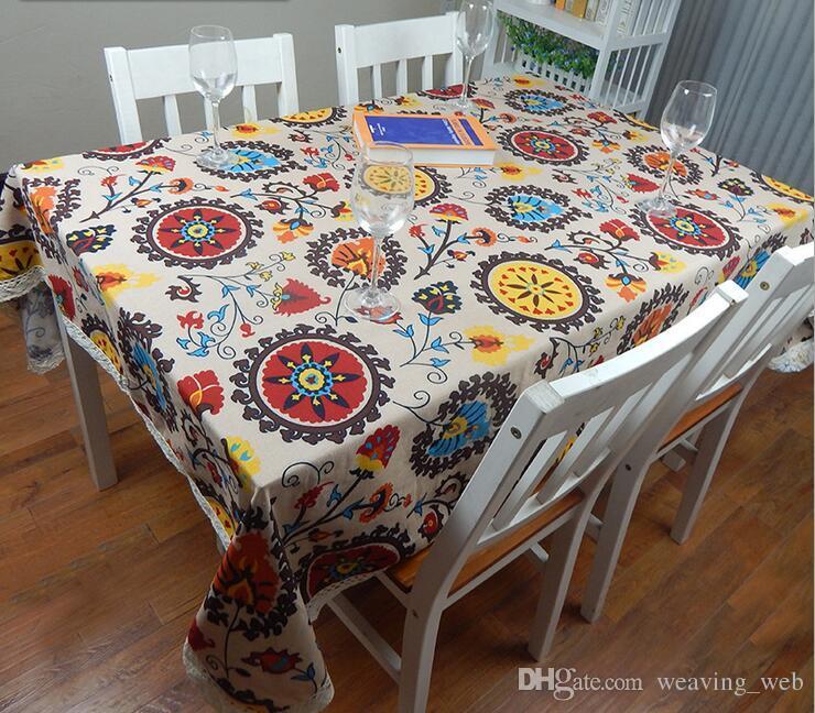 Europäische Baumwolle Leinen Mediterranen Stil Platz Tischdecken Sunflower Abdeckungen Drucken Tischdecke Für Hochzeit Tischdecke