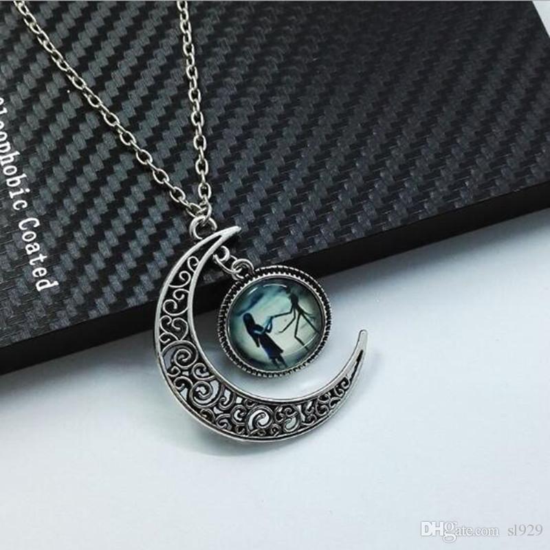 Pas Pendentif Cher Femmes Shape Collier Longs Moon Alloy Vintage RSjc4Aq3L5