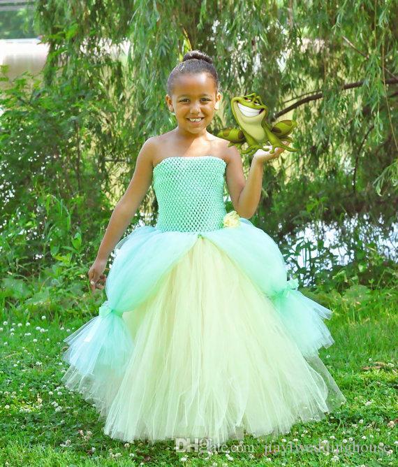 Mint Green Tutu Skirts Flower Girls\' Dresses Princess Frog Tiana ...