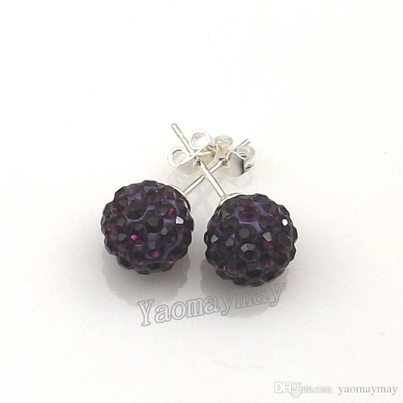 10mm Dark Purple Disco Balls Crystal Earring Studs Silver Plated For Christmas Gift Wholesale