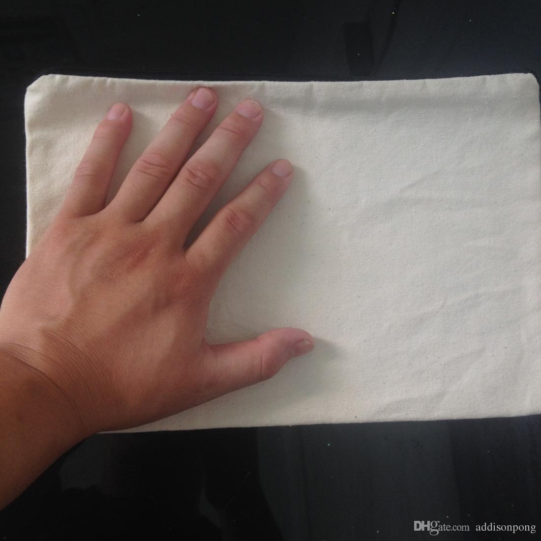 plain natural light ivory color pure cotton canvas coin purse with black zipper unisex casual wallet blank cotton pouch