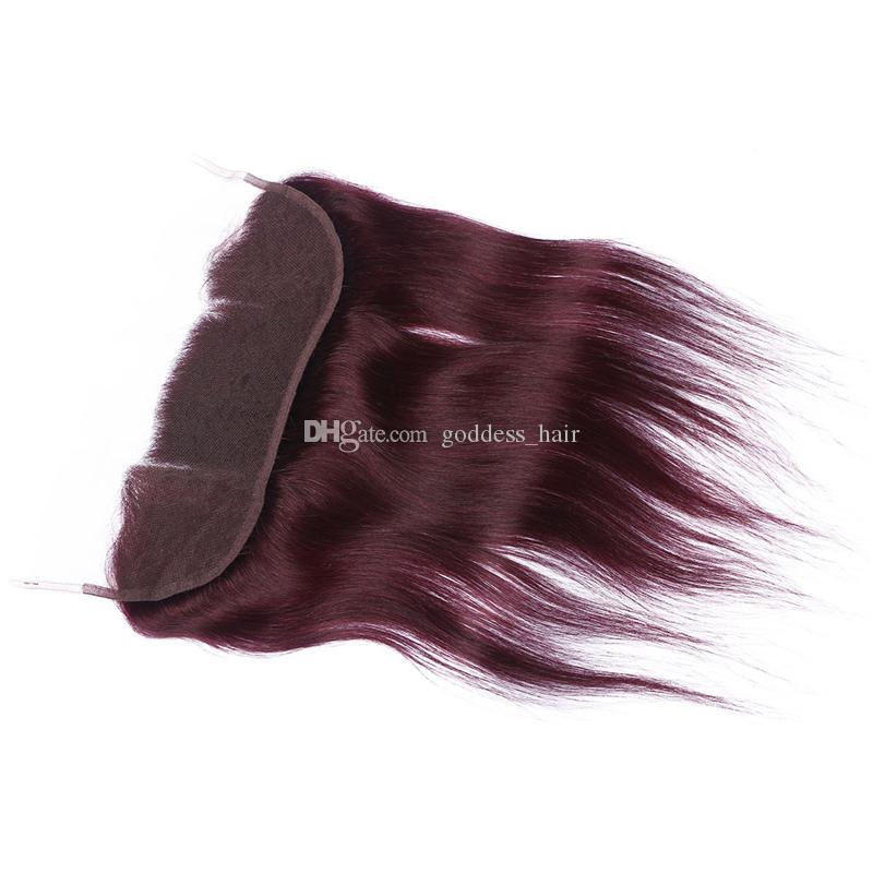 부르고뉴 레이스 정면 폐쇄 13 * 4 처리되지 않은 실크 스트레이트 인간의 머리카락 99j 와인 레드 레이스 정면 베이비 헤어 무료 중간 3 부분