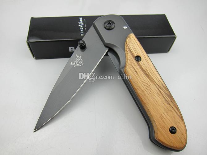 Butterfly DA44 survival Taschen-Klappmesser Holzgriff Titanium-Finish Klinge Taktisches Messer EDC Taschenmesser