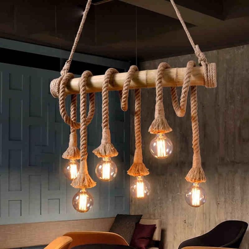 Compre Retro Loft Vintage Industrial Cuerda De Bambú Multi Light ...