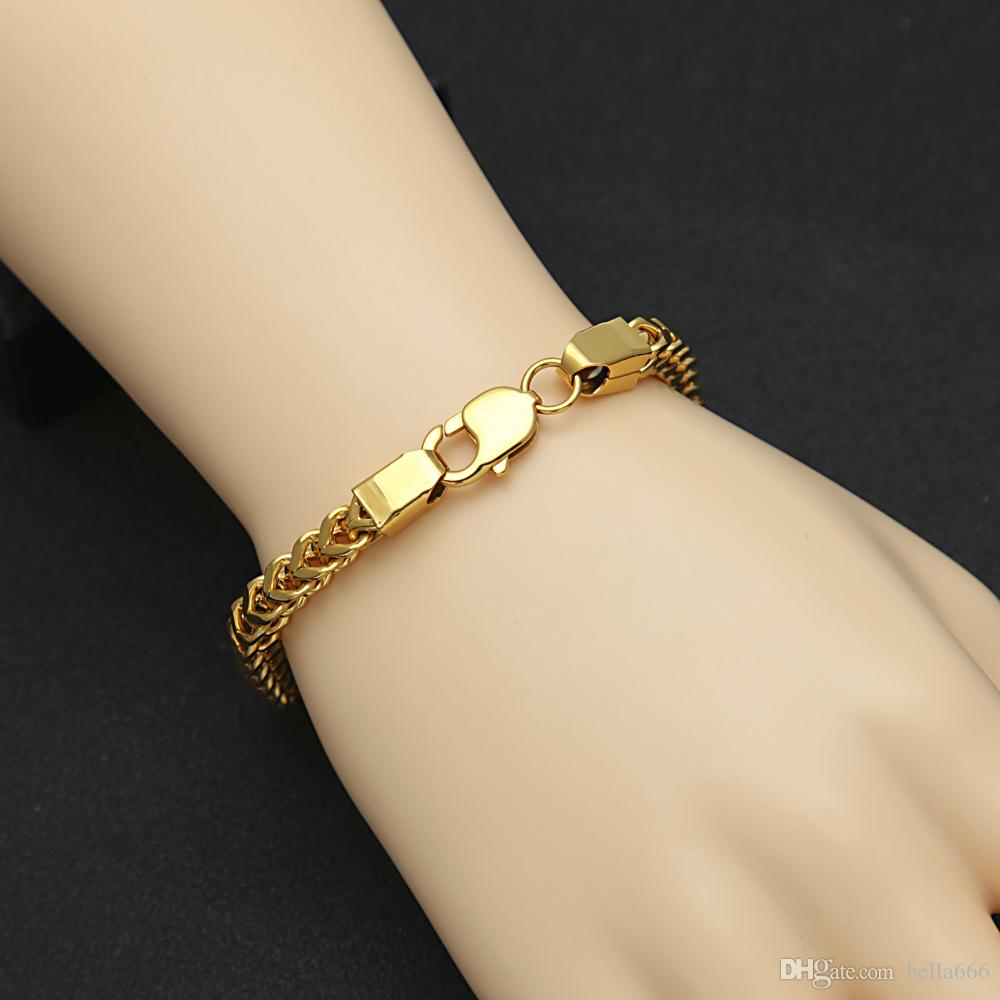 22K Gold plated Men Stainless Steel Keel Chain Bracelet High Grade PVD plating Hiphop Bangles Fashion Rapper Punk Jewelry Gift Ornament