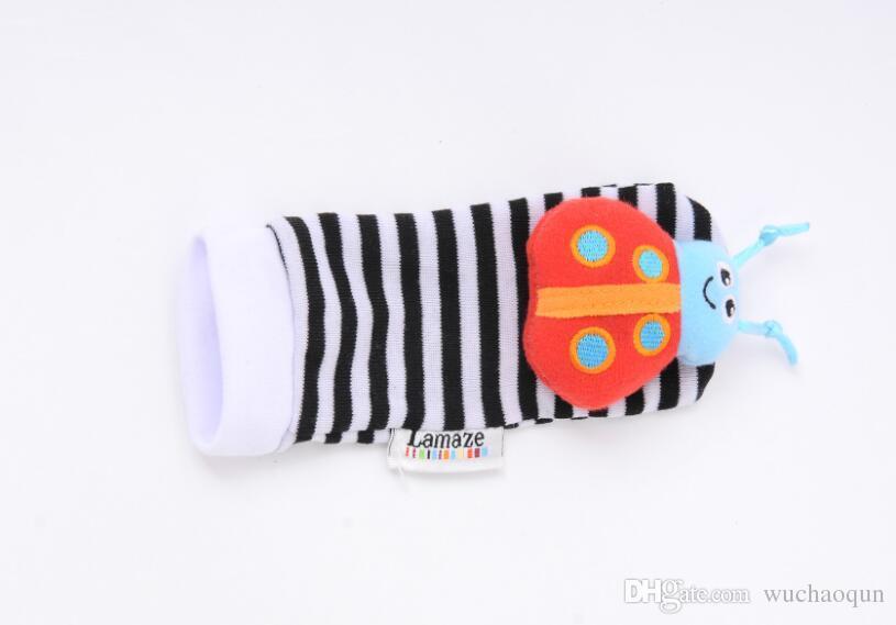 2017 nueva llegada de la muñeca sozzy traqueteo buscador del pie del traqueteo del bebé Juguetes de bebé calcetines de Lamaze felpa muñeca Rattle + Pie del bebé Calcetines